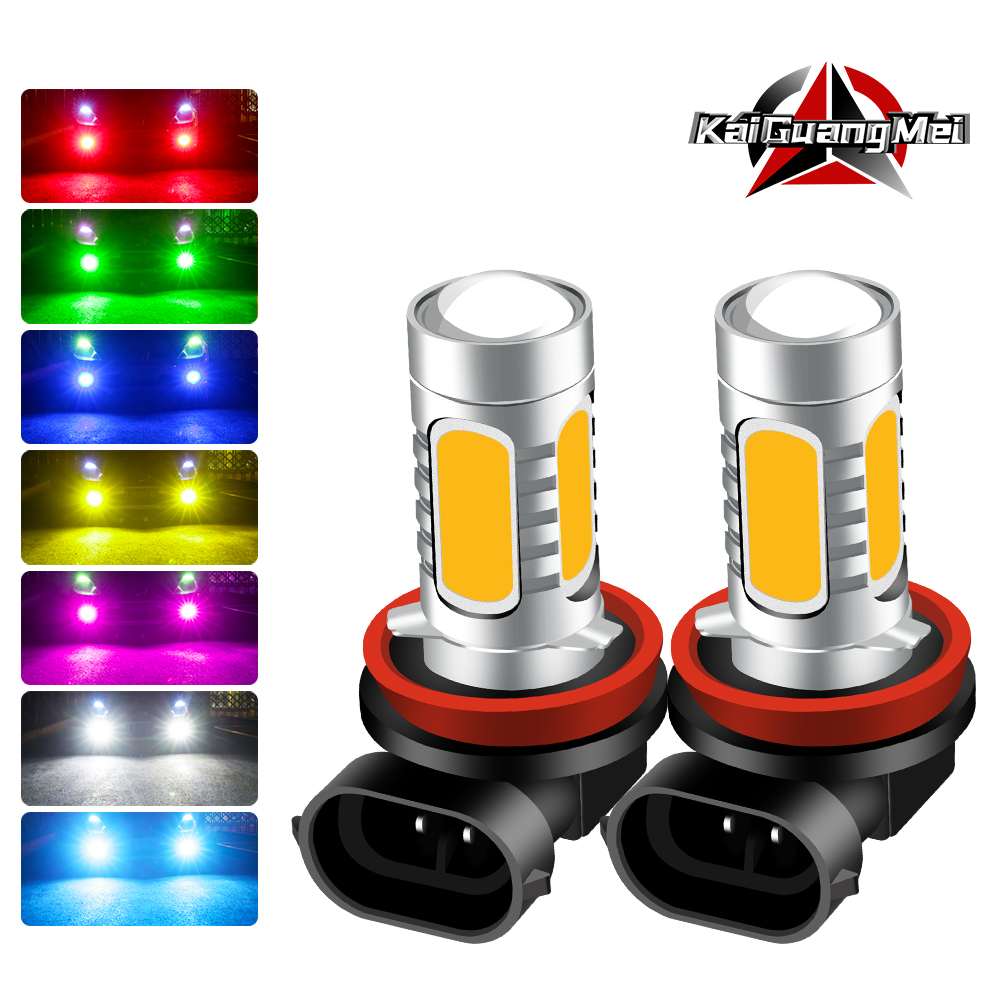 SUPER Bright Red/White/Blue/Green/Amber/Pink H11H8 H1 H3 H4 H7 9005 9006 <font><b>LED</b></font> Fog Light Bulbs 7.5W <font><b>COB</b></font> Driving DRL Lights 12V image