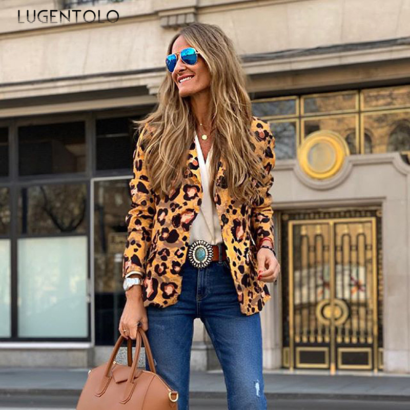 Lugentolo Blazer Feminino Women Suits Spring Autumn Slim Fit Fashion Leopard Lady A Buckle Long Sleeve Lady New Blazers