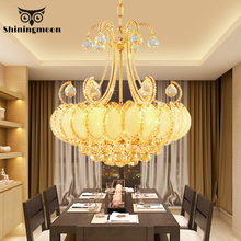 Modern Luxury Crystal Pendant Lights Gold Champagne Decor Lamp Hotel Hall Living Room Kitchen Hanging Luminaria