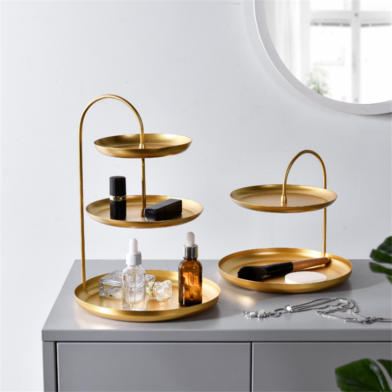 Nordic Double Layer Gold Cosmetics Storage Tray Fruit Plate Jewelry Earrings Rack Holder Display Stand Finishing Racks Organizer