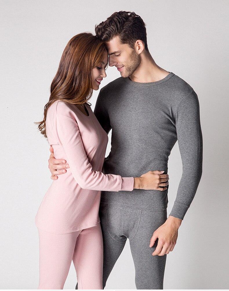 Lovers Keep Warm Underwear Set Lycra Round Neck Solid Color Long Johns Set