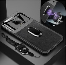 Redmi Note 9 S 케이스의 경우 고급 플렉시 유리 leathe Cover Shockproof Back Case on Redmi Note 9 S 8 9 7 Pro magnet car holder rop