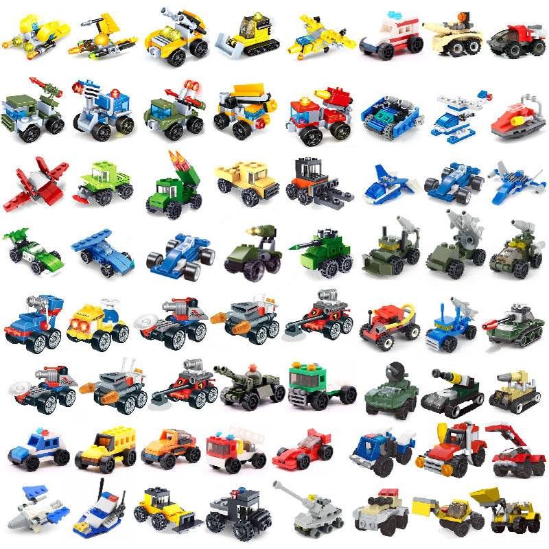 Mini Transportation Tank Plane Car Motorcycle Building Blocks City Military Technic Playmobil Toy For Children