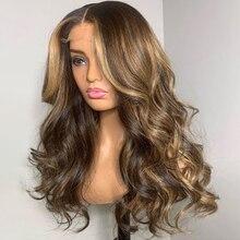 MagicLove-peluca con ondas en forma de T para mujer, peluca de encaje de pelo humano de 13x6, cabello brasileño Remy Frontal, prearrancado, 4/27