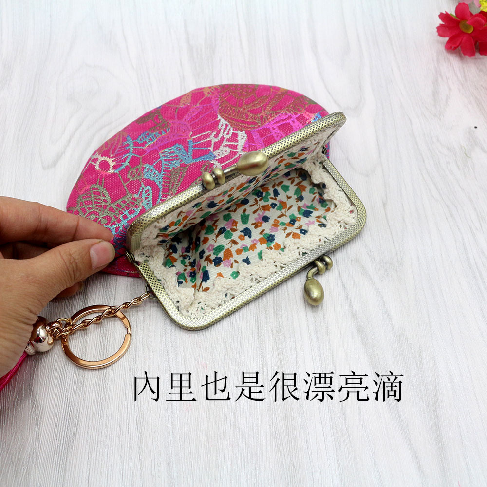 Handmade Fabric Mouth Gold Package Canvas Bronze Purse Women's Carrying Bag Semi-Circular Coin Bag