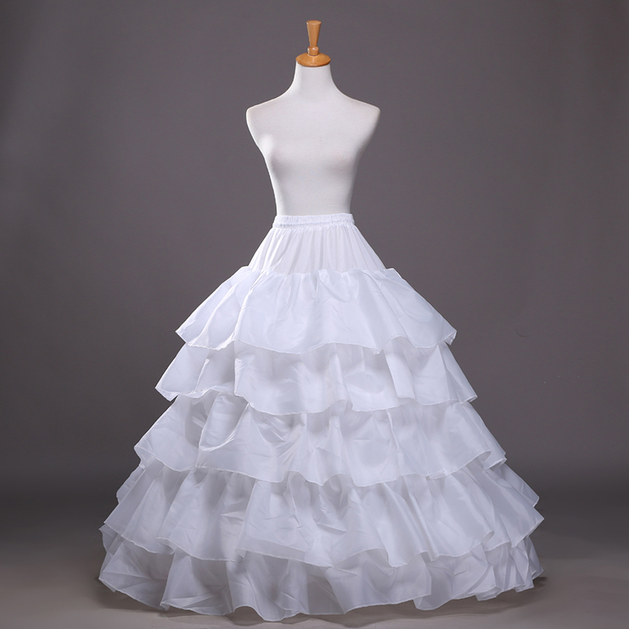 4 Hoops 5 Layers Petticoat For Wedding Dress Ball Gown Puffy Crinoline Underskirt Wedding Accessories