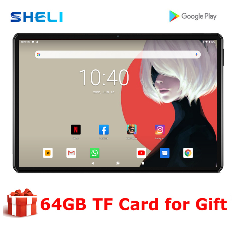 2020 SHELI Android 9.0 tablet pc 10 inch Google Play 4 core 32GB ROM 3G WIFI Smartphone GPS 1280*800 IPS Tablets 10""