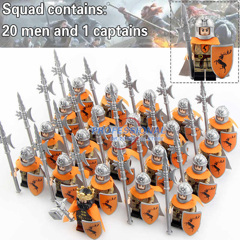 21PCS Building Blocks Game of Thrones Version Mandon Moore Stark Lannister Selmy Ice and Fire Jaime Lannister Gifts Toys KT1029