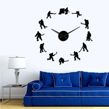 Fun Fervent Hockey Activity Wall Hanging DIY Wall Clock Hockey Player Silhouette Stickers Home Decorative Clock Men's Gifts