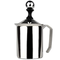 Manuelle Schäumer Creme Cappuccino Latte Schaum Krug Griff  Deckel  Doppel Schicht Filter  Edelstahl  17 unzen Kapazität (500 Ml)