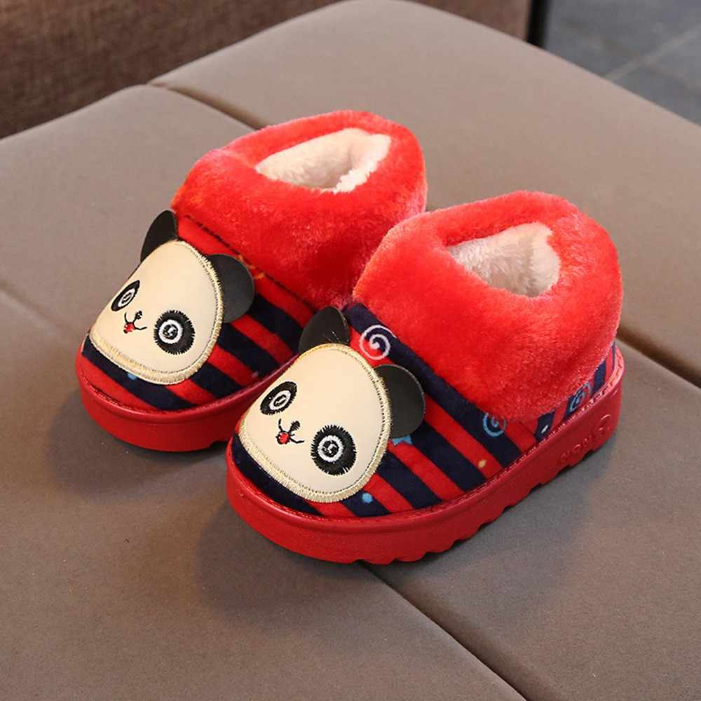 Children Casual Shoes Children Baby Girls Winter Warm Shoes Cute Cartoon Striped Indoors Slipper Home Boots Shoes