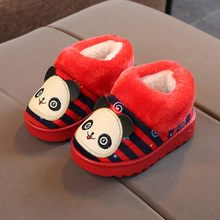 Child Casual Shoe Children Baby Girls Winter Warm Cute Cartoon Striped Indoors Slipper Home Boots Shoes enfant garcon schoenen(China)