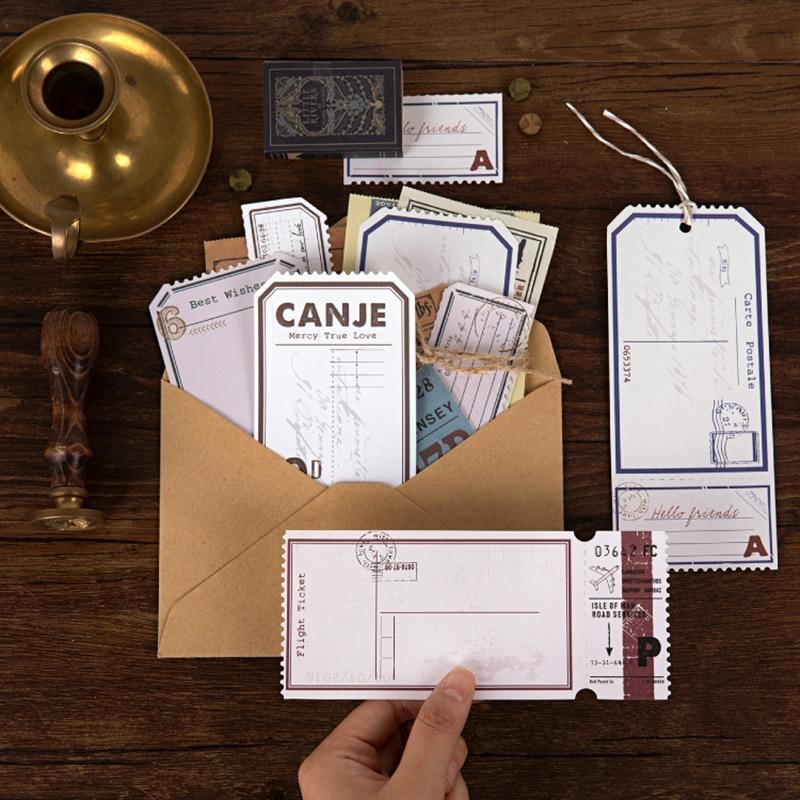 Journamm 20pcs/pack Retro  Junk Journal Letterpress Deco Memo Pads Child Gift Scrapbooking Kawaii Decorative Stationery Memo Pad