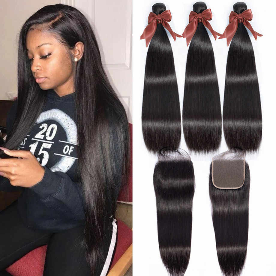 bling hair Straight Hair 3 Bundles With Closure Brazilian Hair Weave Bundles with Swiss Lace Closure Remy Human Hair Extensions