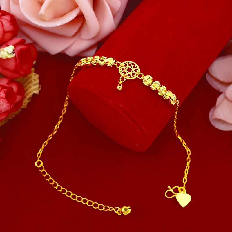 Simple Fashion 18K Gold Anklet for Women Jewelry With Watermelon Bead Pendant Chain Anklets for Girlfriend Birthday Gifts Female