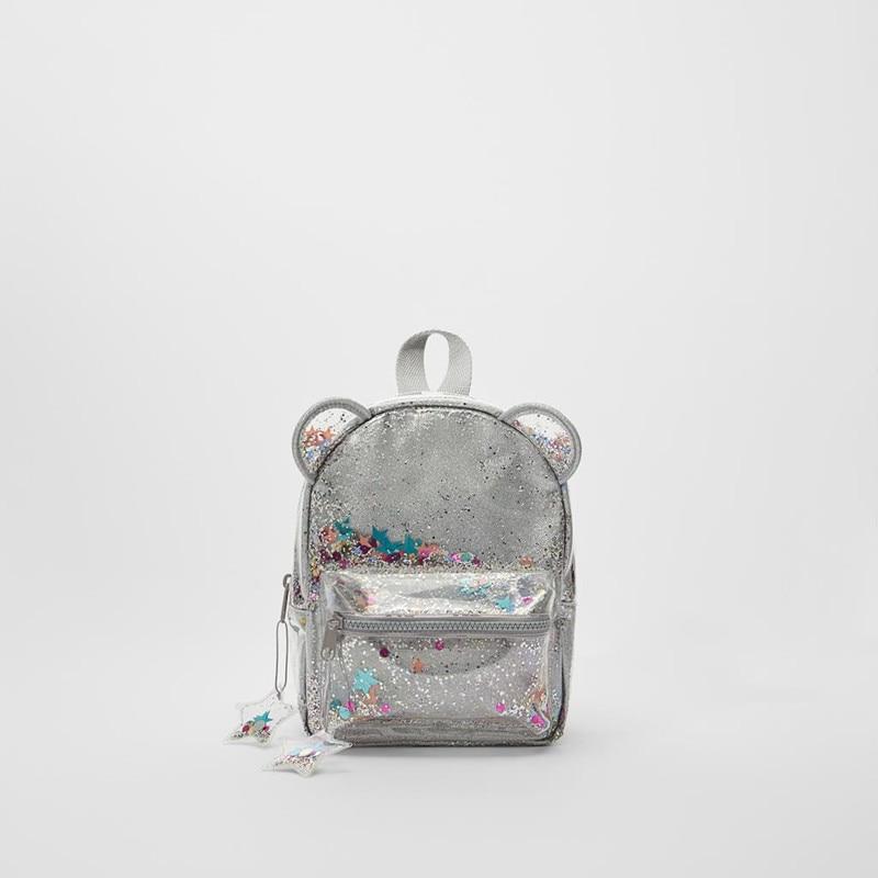 Silver cat ear glitter mini backpack ladies or cute children glitter glitter sequin backpack