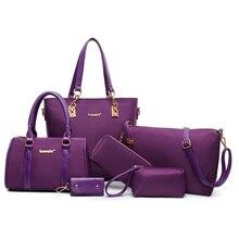6pcs/set Women Composite Bag Bags Bolsa Feminina Oxford Cloth Shoulder Messenger Set 5Colos