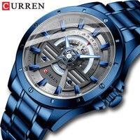 Curren New Fashion Casual Quartz Roestvrij Staal Horloges Datum En Week Klok Mannelijke Creatieve Branded Horloge Voor Heren
