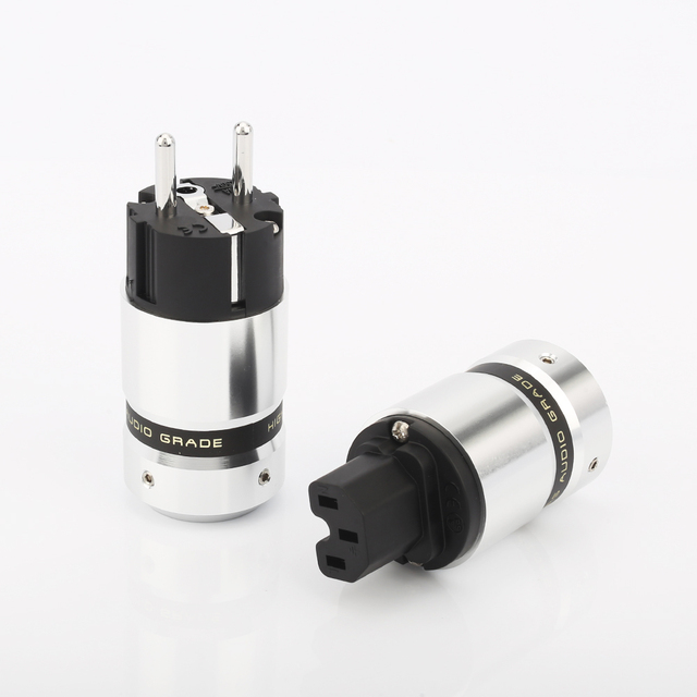 Hi End Audio power plug Aluminum metal Rhodium Plated EUR Euro Schuk Power Plug
