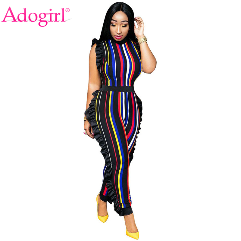 Adogirl Rainbow Colorful Stripe Ruffle Jumpsuit 2020 Spring O Neck Sleeveless Casual Romper Clearance Sale Cheap Overalls