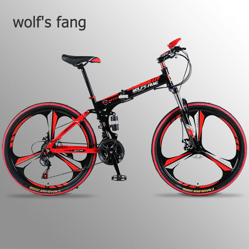 wolf's fang Bicycle folding mountain bike 21 speed Aluminum alloy 26 inches Fat Bike road bikes Snow Bicycle Disc brakes Bikes image