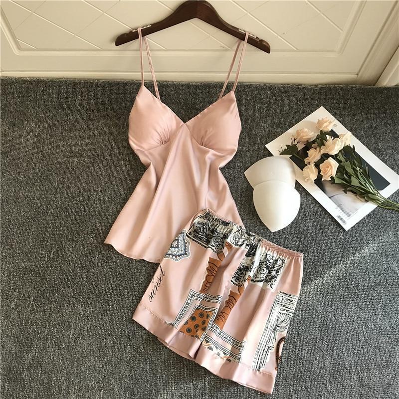 QWEEK Satin Pajamas 2 Piece Set Women Pyjama Summer Spaghetti Strap Silk Pjs Print Pijama Mujer V Neck Sleepwear Set 2020