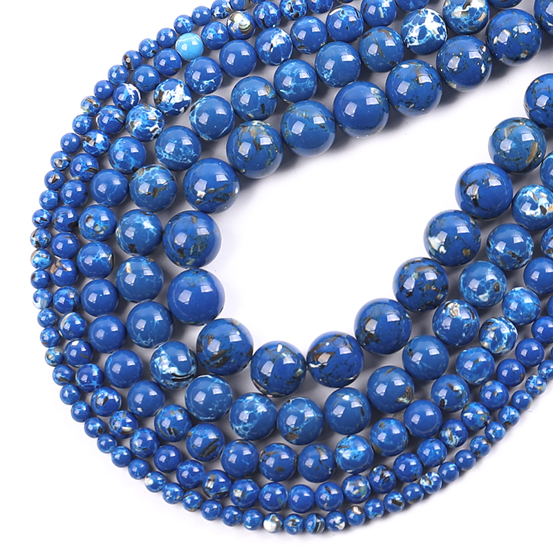 Blue Shell Howlite Stone Round Loose Beads for Jewelry Making 15\'\' Strand DIY Bracelet 4/6/8/10/12mm