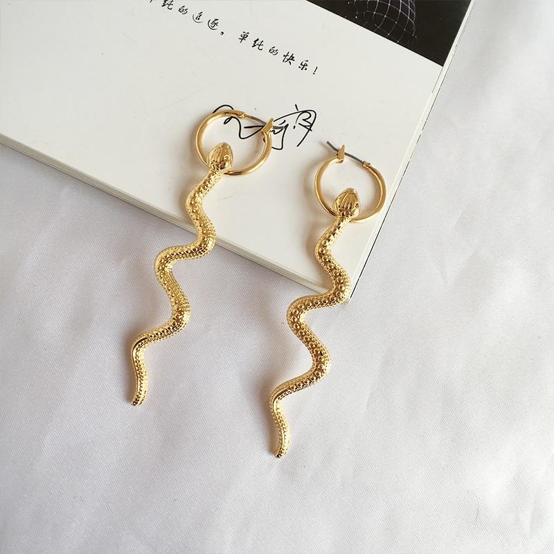 GUVIVI 2019 Boho Punk Snake Drop Earrings for Women Girls Gold Color Animal Long Dangle Pendientes Jewelry Gift