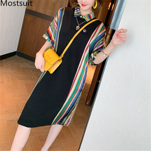 Plus Size Fashion Colorful Striped Loose Dress Women Short Sleeve Turn-down Coll