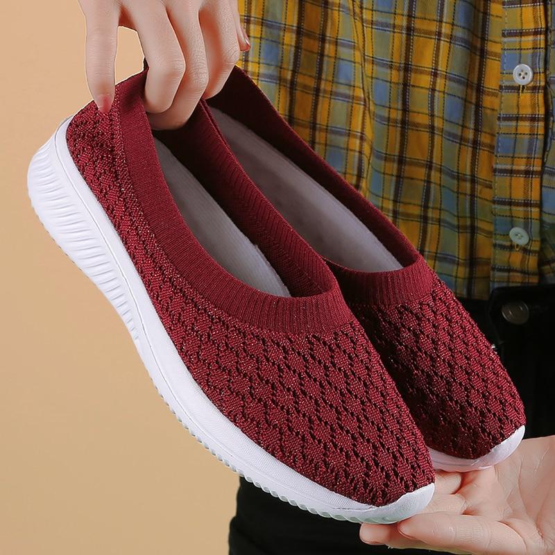Damyuan Sock Sneakers Flat Shoes Women Shoes Slip on Sneakers Women Casual Breathable Mesh Sock Big Size 42 2020 Fashion
