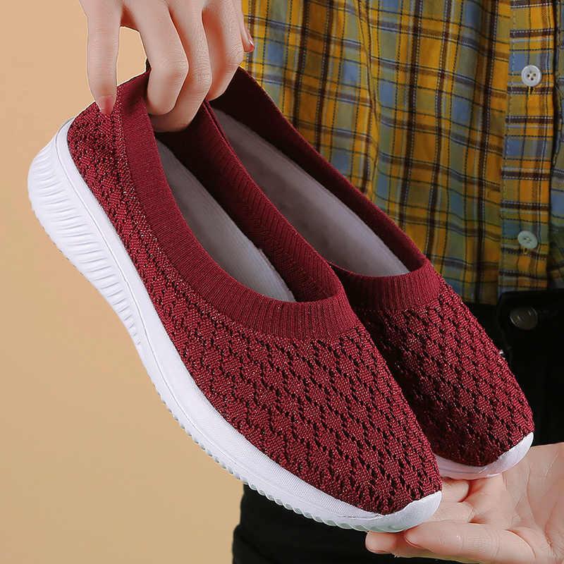 Damyuan skarpety trampki płaskie buty damskie buty wsuwane trampki kobiety dorywczo oddychająca siatka skarpety duży rozmiar 42 2020 moda