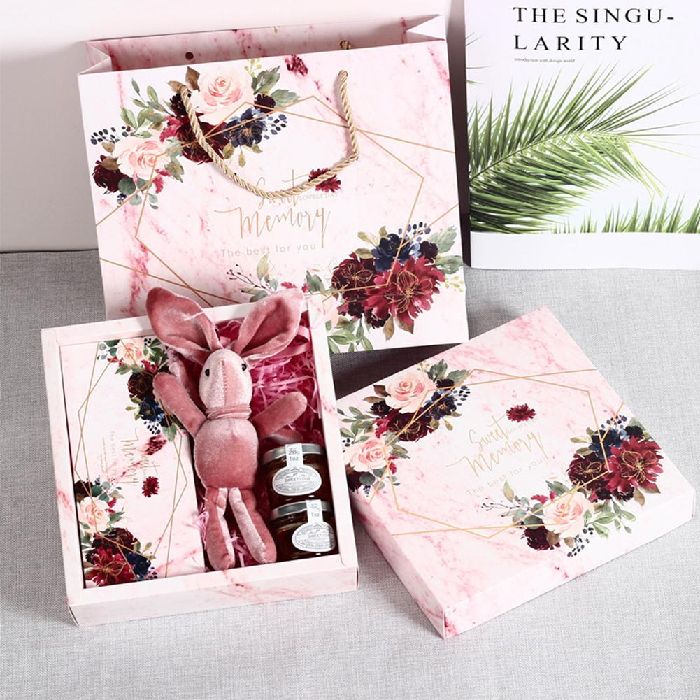 3pcs Wedding Gift Box Floral Bride Bridesmaid Wedding Champagne Birthday Small Gift Bag For Proposal Baby Shower Party Supplies