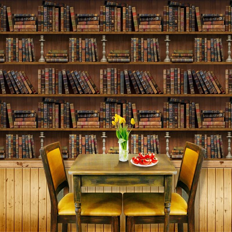 45*100cm 3d Vintage Bookshelf Pattern Wallpaper PVC Self Adhesive Waterproof Wall Papers Home Decor Living Room Wall Decal Mural