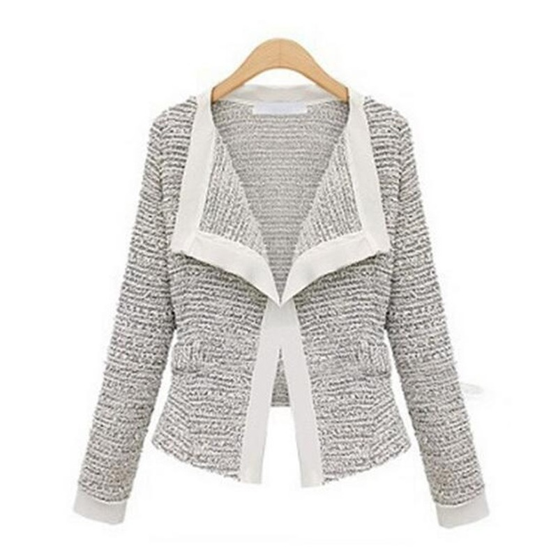 Autumn Women Cardigan Blazer Gray Coat Stylish Slim Long-sleeved Office Lady Tunic Feminino Vadim Veste Femme Cocostly Blaser