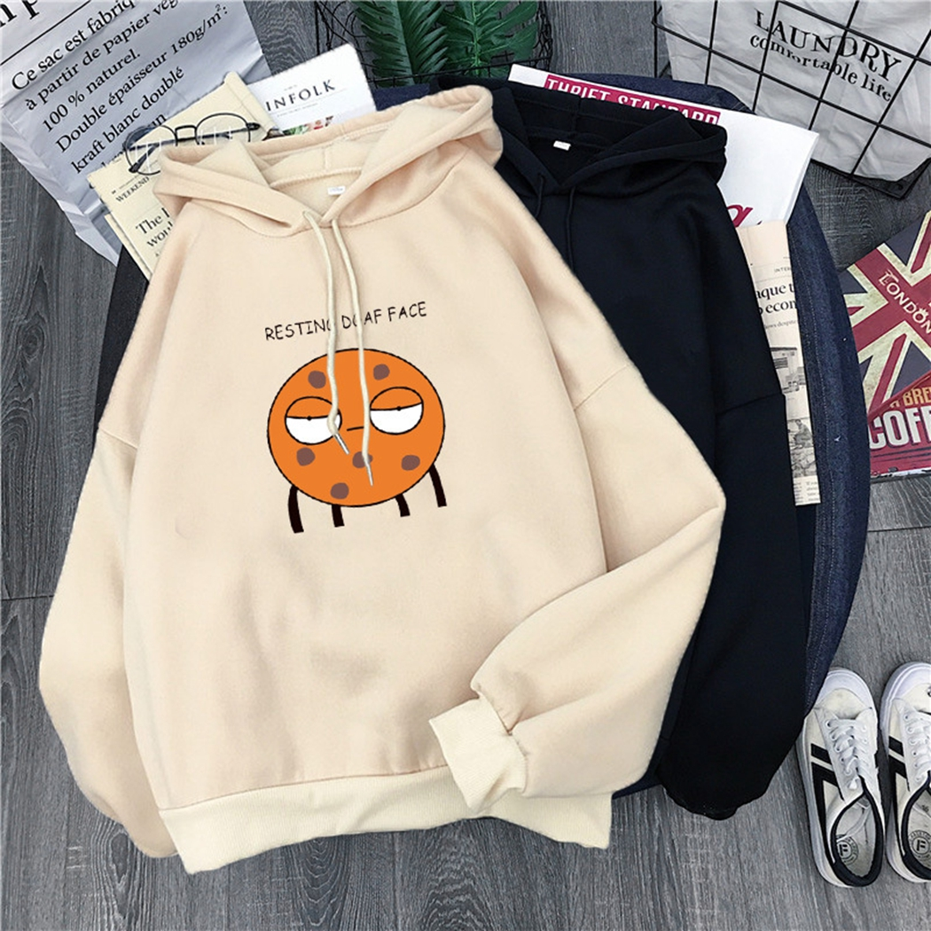 Harajuku Women Loose Hoodies 2019 Autumn Winter Cartoon Letter Print Long Sleeve Hooded Sweatshirt Casual Ladies Pullover Tops