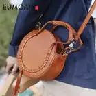 Bolso redondo de cuero rojo de EUMOAN, bolso con diseño oblicuo para mujer, 2019 retro literario stream su pequeño bolso redondo - 1