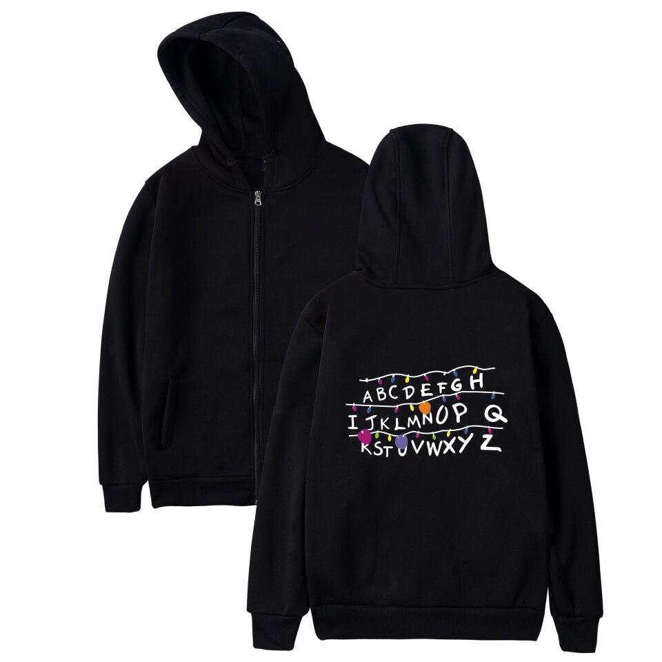 Harajuku Stranger Things Zipper Hoodies Men/Women Black Hoodie Cap Zip Up Sweatshirts Hip Hop Hooded Casual Coats Streetwear