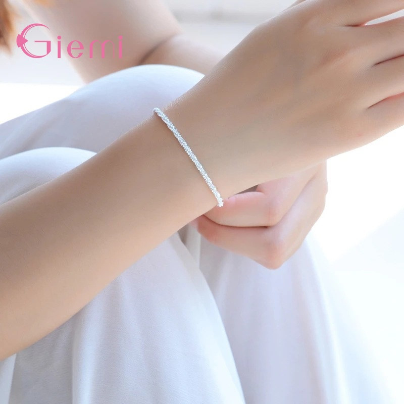 New Fashion 925 Sterling Silver Ankle Bracelet Elegant Twisted Weave Chain Anklets For Women Girl Jewelry Gift