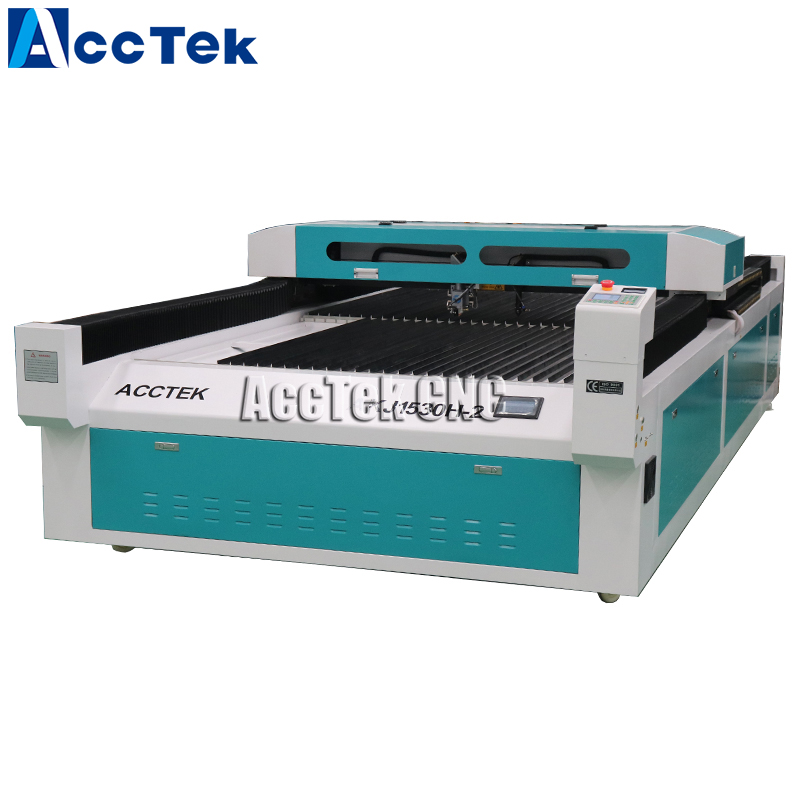 Two Laser Heads 1500*3000mm Steel Laser Cutting Machine Carbon Steel 180W 60W Wood Acrylic Laser Engraving Machine