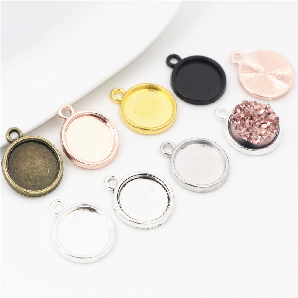 20-50pcs/Lot 8mm 10mm 12mm Inner Size Classic 7 Color Plated One Sided Single Hanging Simple Style Cabochon Base Setting Pendant