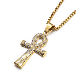 Egyptian Iced Out Ankh Cross Pendant Necklace For Women Men Gold Color Stainless Steel Chains Hiphop Ancient Egypt Jewelry(China)