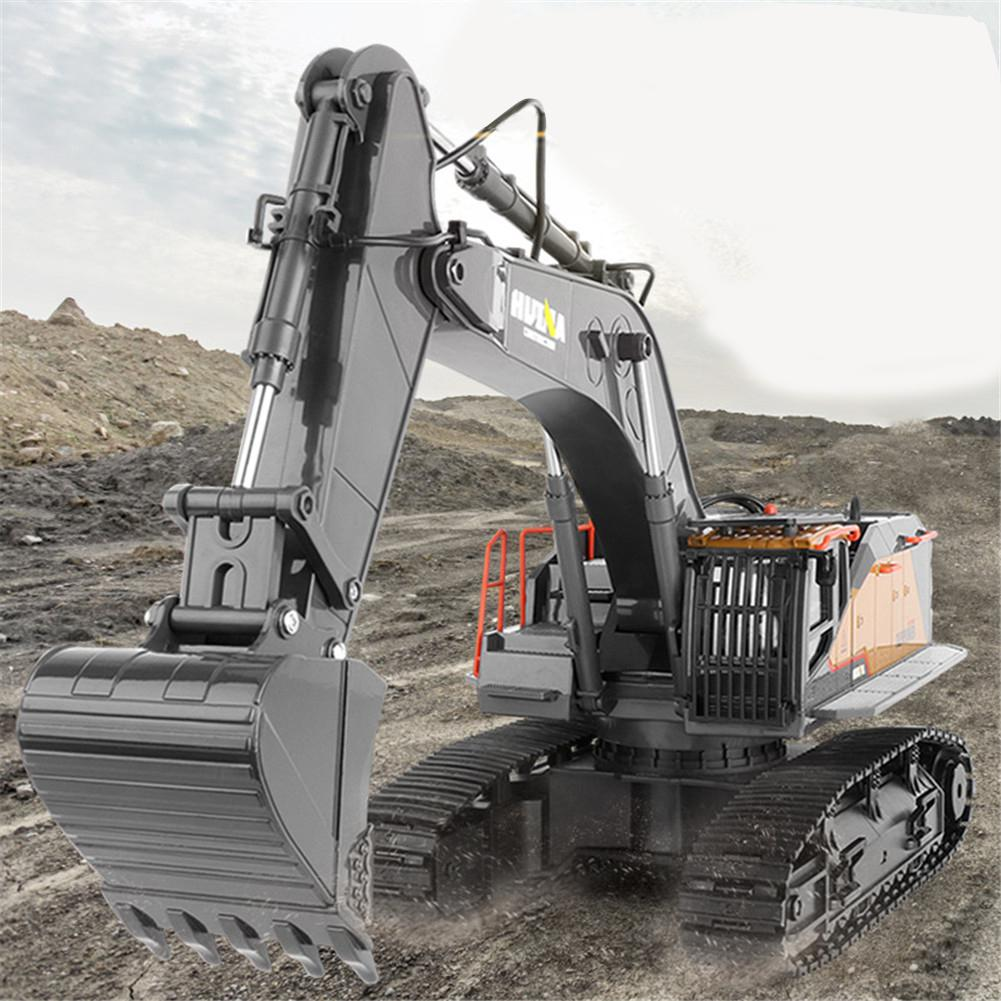 2020 New Item HuiNa 1:14 1592 RC Alloy Excavator 22CH Big Rc Trucks Simulation Excavator Remote Control Vehicle Toys for Boys - 2
