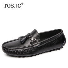 TOSJC Man Casual Loafers Genuine Leather Flats Moccasins High Quality Buckle Mens Boat Shoes Comfortable Slip on Driving Shoes цены онлайн
