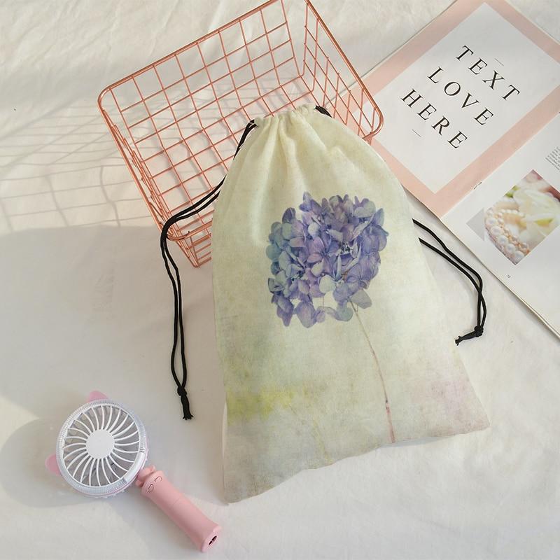 Flower Printing Bunch Of Pocket  Customize Women Traveling Shoulder Bags Mochila Travel Printing Bag Draw String Bags 32cmx40cm