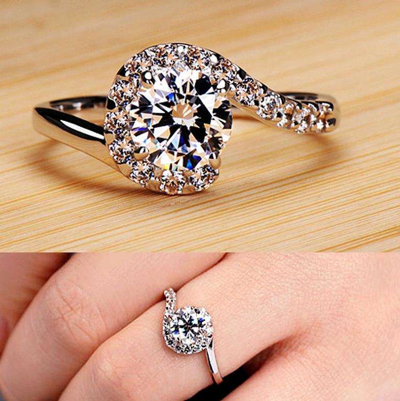Silver Color Engagement Ring Zirconia Jewelry Rings Fashion jewelry rose gold and Gold women Crystal ring 23