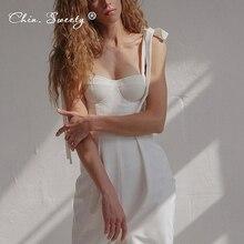 Женское белое платье-миди без рукавов, пикантное платье на бретелях-спагетти с высокой талией и завязками, с разрезом, лето 2021, эластичная од...