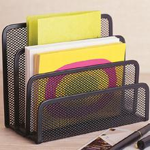 Black Metal Mesh Desk Organizer Desktop Letter Sorter Mail Tray File Office Home Bookends Book Holder