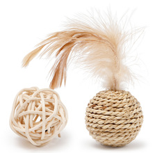 Rattan Wear Resistant Amusement Balls Toys with Bell for Pet Cat Cute Kitten Cat Toys Interactive Chew Scartch Toys Pet Supplies solid color wood wear resistant durable chew toys for pet cat amusement intelligent cat toys interactive pet supplies kitten