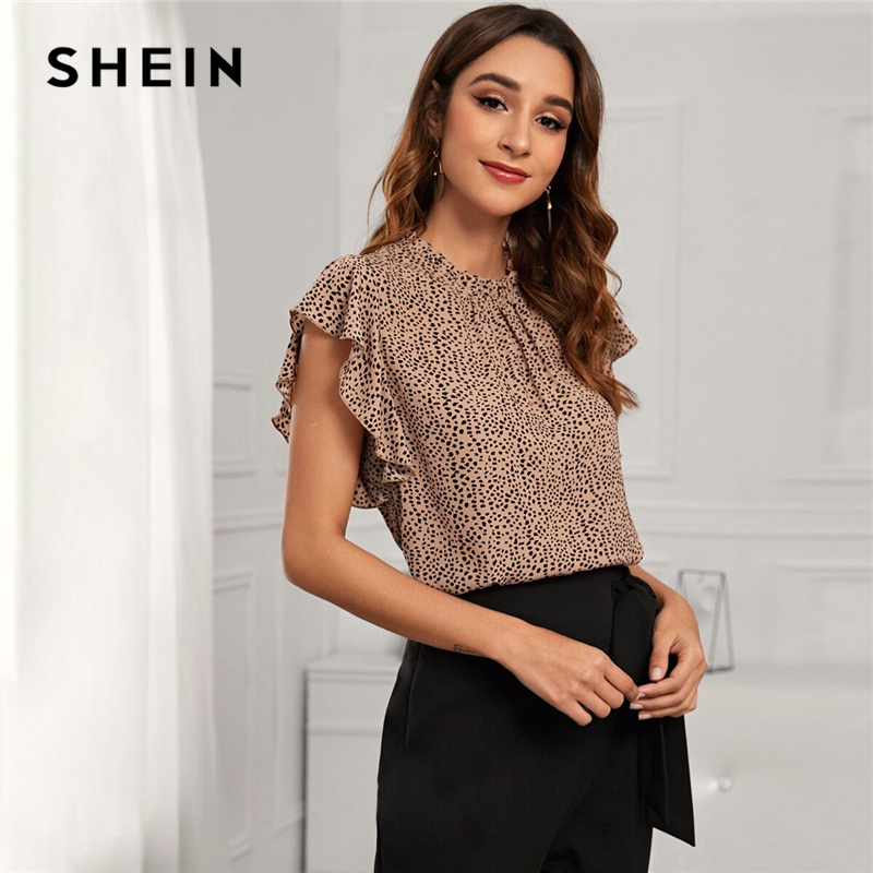 SHEIN Multicolor Cheetah Print Frill Mock Neck Blouse Women Summer Elegant Sleeveless Ruffle Leopard Tops and Blouses|Blouses & Shirts| - AliExpress