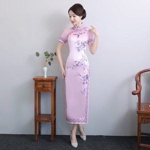 Image 2 - 2020 מיהרו גבוהה בקיץ חדש יד רקום משי Cheongsam ארוך יומי השתפר Qipao שמלת מתחייב